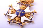The Royal Order of the Sword, gold, enamel, Sweden, 77.2 x 55.3 mm, 31.30 g, in a box...