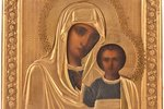 icon, Kazan icon of the Mother of God, in icon case, board, painting, brass, Russia, the end of the...