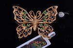 pendant-brooch, gold, 14 К standart, 9.48 g., the item's dimensions 2.9 x 3.9 cm, emerald, sapphire...