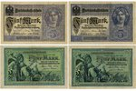 5 mark, 4 banknotes, German occupation, currency in the territory of Latvia, 1904-1917, Latvia, XF,...