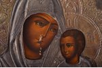 """icon, Tikhvin icon of the Mother of God, board, painting, metal, factory """"Krestyaninov with sons"""", R..."""