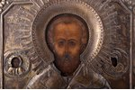 icon, Saint Nicholas the Miracle-Worker, board, painting, metal, Russia, 31.5 x 26.4 x 1.9 cm...