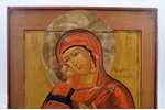 icon, Vladimir icon of the Mother of God, in icon case, board, painting, guilding, Russia, 35 x 30.8...