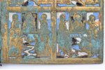 icon with foldable side flaps, Great Feasts, copper alloy, 4-color enamel, Russia, the border of the...