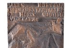 """bas-relief, """"The Sowing of the Storm"""" (after the title of collection of poems by Rainis), bronze, 33..."""