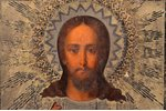 icon, Jesus Christ Pantocrator, board, silver, painting, 84 standart, Russia, 1888, 30.9 x 26.5 x 2....