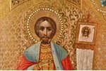 icon, Saint Alexander Nevsky, board, painting on gold, Russia, 17.9 x 13.5 x 1.8 cm, size with frame...