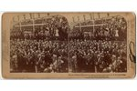 photography, stereopair, the President of France and the Tsar of Russia lay a cornerstone to begin c...