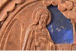 sacred image, Saint Sergius of Radonezh at the coffins of his parents, wood carving, 7.5 x 7 cm...