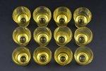 """12 biķeru komplekts, """"Latvijas stikls"""" fabrika, Latvija, PSRS, 20. gs. 2. puse, h 5.2 cm, kastē..."""