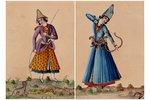 2 miniatures, Iran, the 19th cent., paper, water colour, 17.1 x 12.1 cm, paper size 33.2 x 24.5 cm...