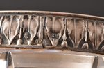 sugar-bowl, silver, 875 standart, crystal, the 20ties of 20th cent., Latvia, Ø 10.7 cm, h (with hand...