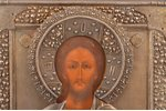 icon, Jesus Christ Pantocrator, board, silver, painting, 84 standart, Russia, 1896-1907, 31 x 26.5 x...