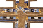 cross, The Crucifixion of Christ, copper alloy, 5-color enamel, Russia, the beginning of the 20th ce...
