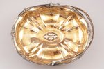 candy-bowl, silver, 84 standart, gilding, 1849, 408 g, Moscow, Russia, 26 x 21.5 cm, h (with handle)...