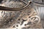 carafe, silver, 84 standart, gilding, crystal, 1880-1890, by Albrecht Kirill (Karl) Fedorovich, St....