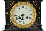 "mantel colck, ""George Barnes"", France, black slate, 8200 g, 23.9 x 22.3 x 15 cm, in working conditio..."