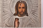 icon, Jesus Christ Pantocrator, board, silver, painting, 84 standart, Egorov Alexander Sergeev's wor...