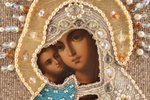 """icon, Mother of God """"Virgin of Tenderness"""" (""""Eleusa""""), board, painting, beadwork, Russia, the border..."""