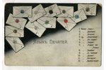 postcard, language of seals, Russia, beginning of 20th cent., 13,8x9 cm...