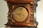 wall clock, wood, 115 x 39 x 21 cm, dial diameter 14 cm; in working condition...