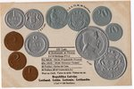 postcard, coins of Republic of Latvia, Latvia, 20-30ties of 20th cent., 14,8x9,5 cm...