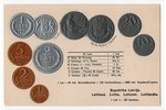 postcard, coins of Republic of Latvia, Latvia, 20-30ties of 20th cent., 14,4x9,2 cm...