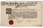 document, travelling passport, on the blank with name of Empress Elizabeth Petrovna, in German and R...