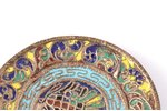 decorative plate, metal, cloisonne enamel, the beginning of the 20th cent., Ø 10.5 cm...