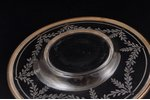 set, silver, 950 standart, gilding, glass, weight of silver lid 84.55g, France, plate-tray Ø 17.4 cm...