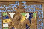icon, Holy Great Martyr George, the Miracle of St George and the Dragon, copper alloy, 5-color ename...