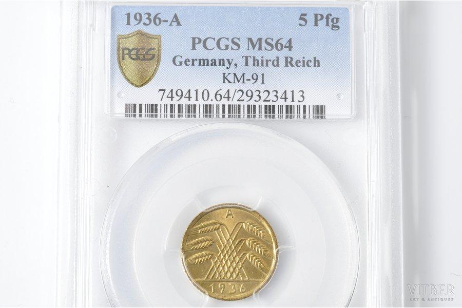 5 пфеннигов, 1936 г., A, Германия, MS 64
