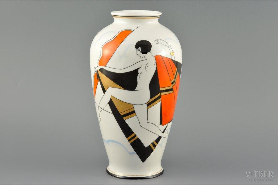 vase, Dance, porcelain, Burtnieks manufactory, sketch by Sigismunds Vidbergs, Riga (Latvia), the 30ties of 20th cent., 22.5 cm, top grade