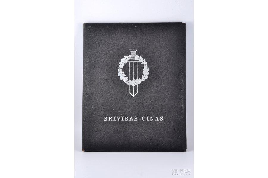 """Brīvības cīņas"", ofortu sakopojums, edited by L. Liberts, 1937, Valstspapīru spiestuves izdevums, Riga, leather binding, 3 etchings missing, one sheet without vellum"