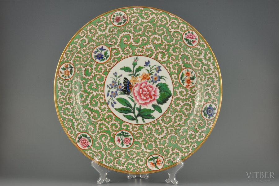 decorative plate, Butterfly, Imperial Porcelain Manufactory, Russia, the 1st half of the 19th cent., 39 cm