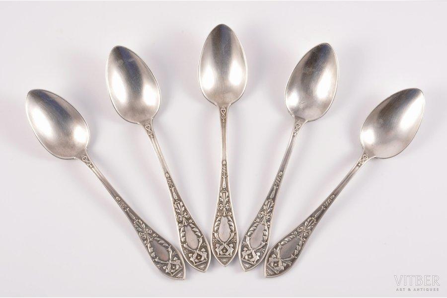 "set of 5 teaspoons, silver, 5, 84 standart, 1908, 170.50 g, ""Grachev Brothers"", St. Petersburg, Russia, 15.4 cm"