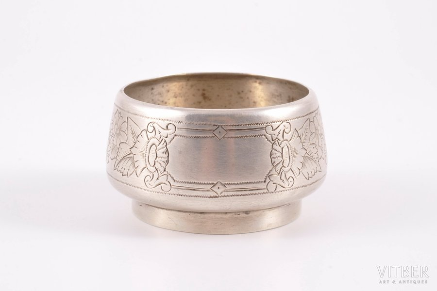saltcellar, silver, 84 standart, engraving, 1892, 30.85 g, Moscow, Russia, Ø 5.3, h 3 cm