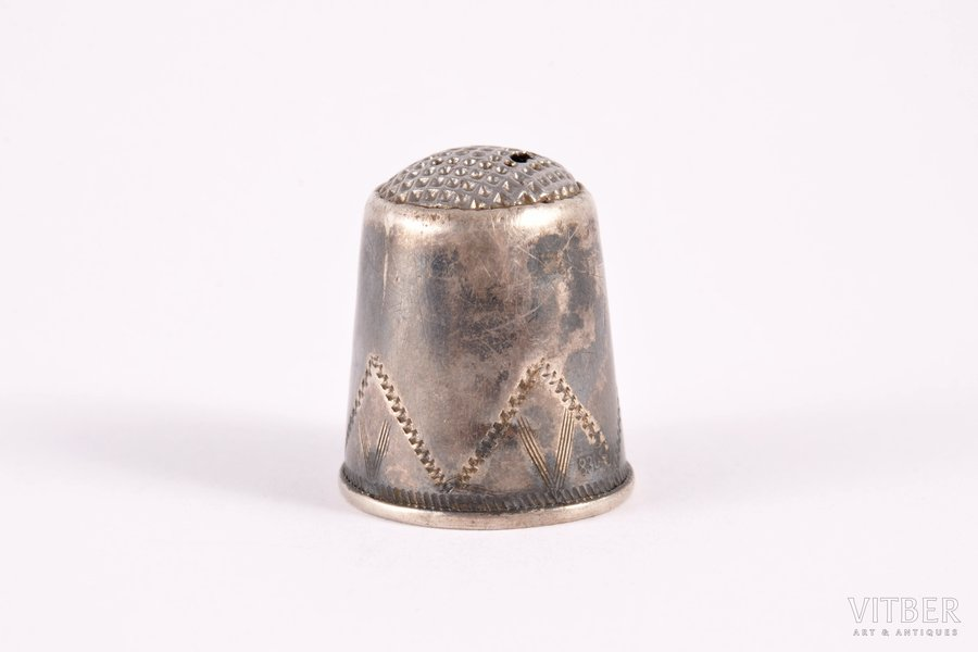 thimble, silver, 830 standart, engraving, the border of the 18th and the 19th centuries, 3.00 g, Sweden, h 2.1 cm