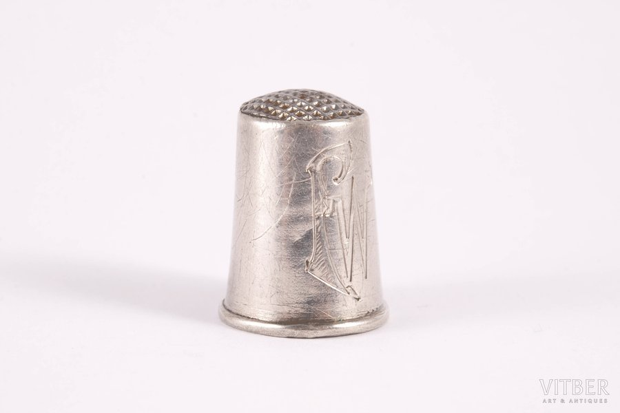 наперсток, серебро, 875 проба, штихельная резьба, 20-30е годы 20го века, 3.80 г, Эстония, h 2.2 см