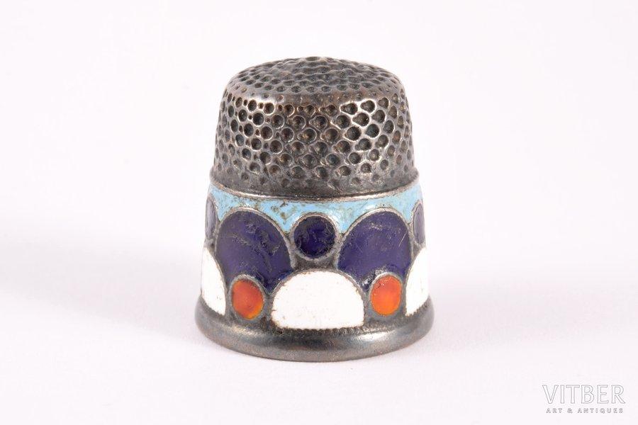 thimble, silver, 916 standart, cloisonne enamel, 1955, 9.15 g, Leningrad Jewelry Factory, Leningrad, USSR, h 2.2 cm, Ø 1.9 cm