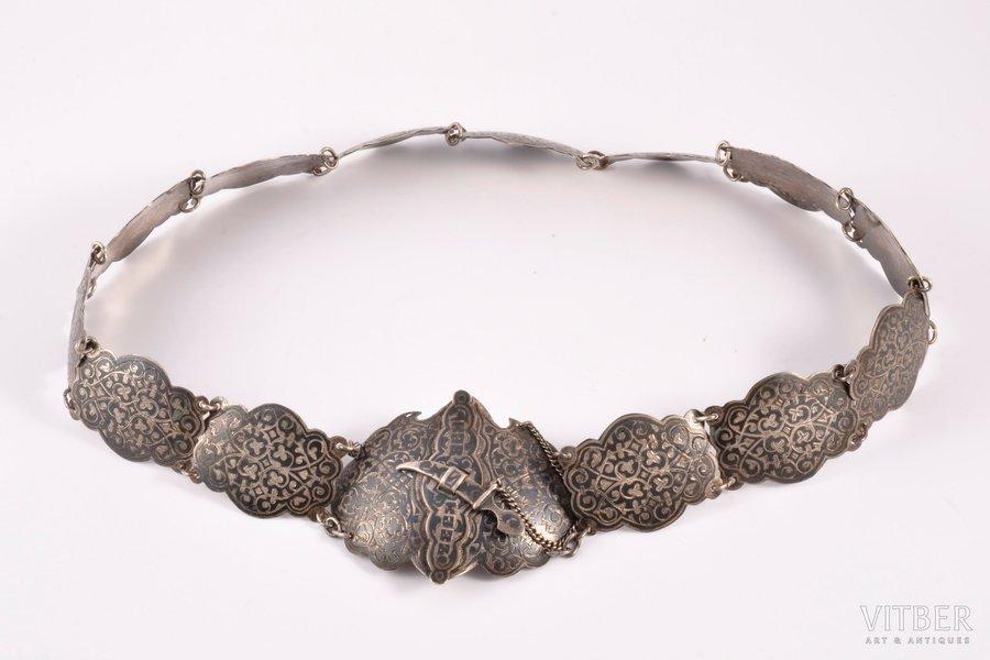 "a belt, silver, 84 standart, ""Кавказъ"" (""Caucasus""), engraving, niello enamel, 1899-1908, 163.25 g, Kiev, Russia, 77.6 x 3.9 cm"