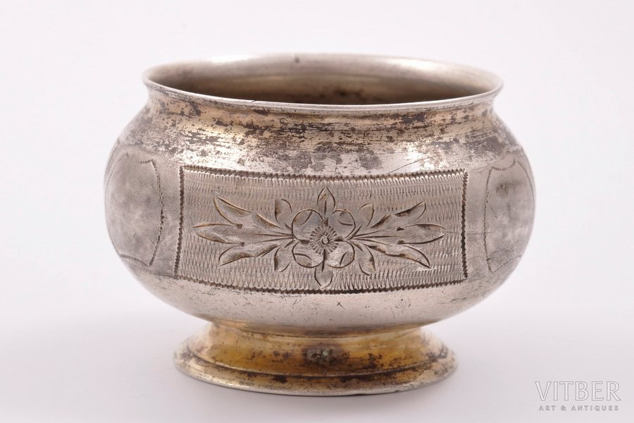 saltcellar, silver, 84 standart, engraving, 1873, 38.25 g, Moscow, Russia, Ø = 5.8 cm, h = 3.8 cm