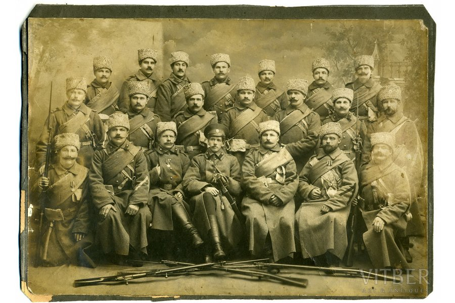 Photography, Imperial Russian Army, studio photography on cardboard