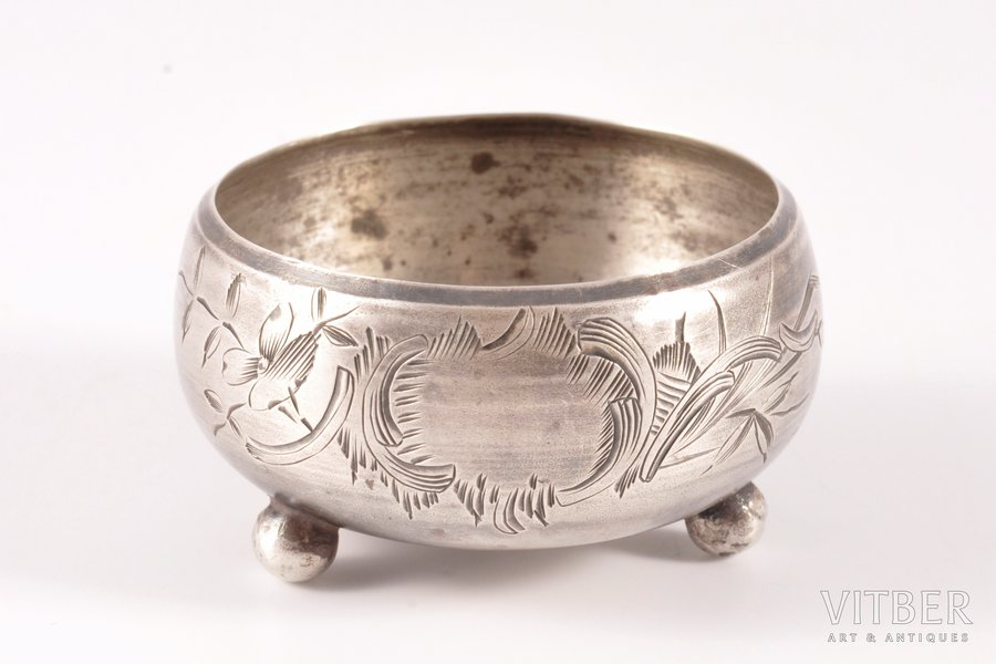 saltcellar, silver, 84 standart, engraving, 1899-1908, 23.60 g, Moscow, Russia, Ø 4.7 cm, h 2.6 cm