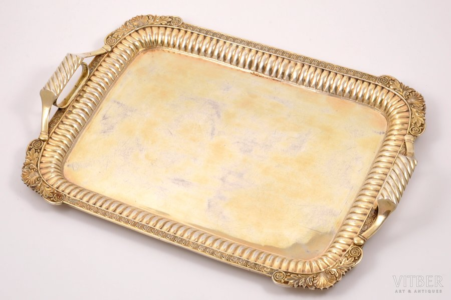 tray, silver, 84 standart, gilding, silver stamping, 1795-1826, 1000 g, St. Petersburg, Russia, 38 x 26.8 x 4 cm