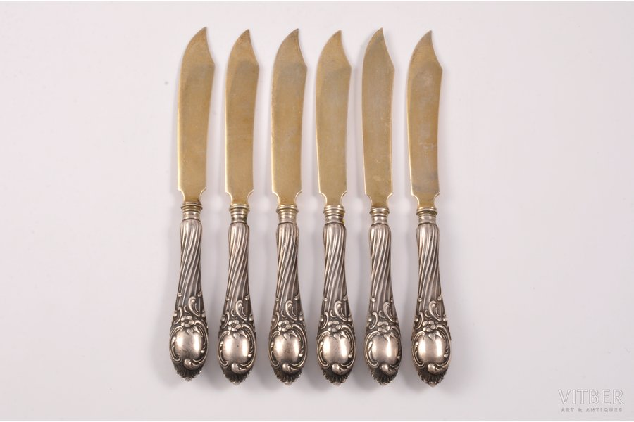 set of 6 fruit knifes, silver, 6, 84 standart, 1899-1908, 253.15 g, by Gutav Klingert, Moscow, Russia, 17.2 cm