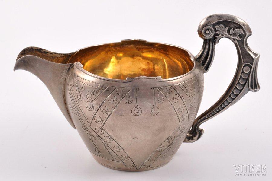 cream jug, silver, 84 standart, gilding, engraving, 1908-1914, 135.60 g, workshop of Alexander Piskarev, Moscow, Russian Empire, h (with handle) 8.8 cm