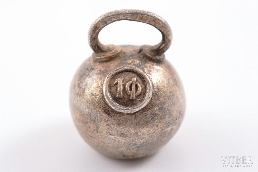 гиря, серебро, 84 проба, 1908-1917 г., 1.05 г, Российская империя, 1.4 x 1.1 см