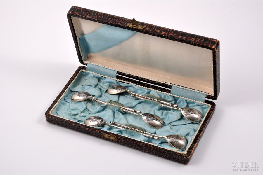 set of 6 spoons, silver, 84 standart, niello enamel, the last quarter of the 19th century, 73.05 g, Moscow, Russia, 11 cm