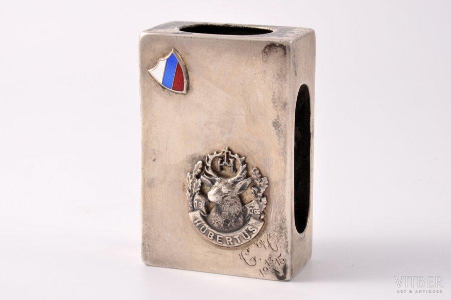 """sērkociņu turētājs, sudrabs, 84 prove, """"Mednieki"""", ciļņošana, 1899-1908 g., 51.65 g, Maskava, Krievijas impērija, 6.1 x 4 x 2.1 cm"""